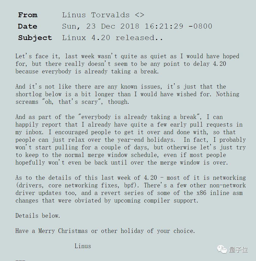Linus送出圣诞礼物:发布Linux 4.20,超35万行代码